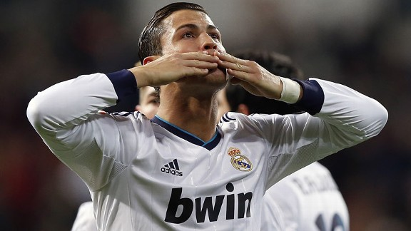Cristiano Ronaldo shows his affection to the Real Madrid supporters