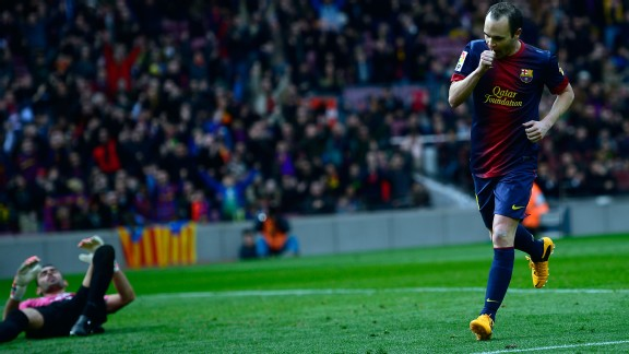 Andres Iniesta rolled home Barcelona's fifth in the 90th minute
