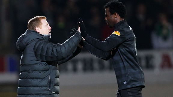 Neil Lennon celebrates Efe Ambrose's goal against St Johnstone