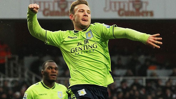 Andreas Weimann celebrates his equaliser for Aston Villa at the Emirates
