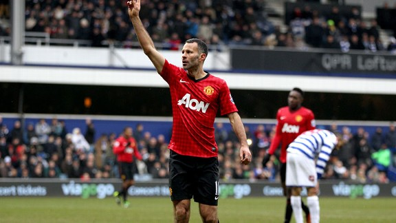 Ryan Giggs celebrates his goal for Manchester United against QPR