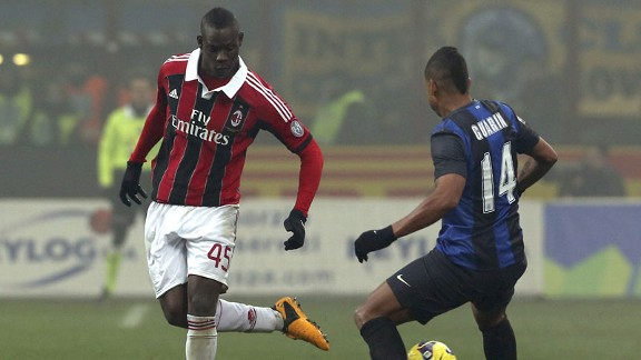Mario Balotelli came up against his former club in the Milan derby