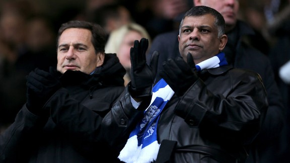 QPR owner Tony Fernandes watches on as his team lose to Manchester United