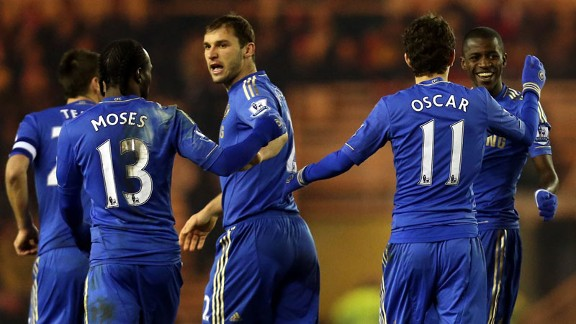 Chelsea goalscorers Victor Moses and Ramires are congratulated by their team-mates