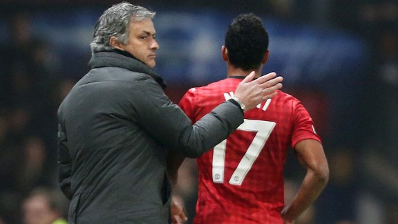 Jose Mourinho consoles Nani as he is sent from the pitch