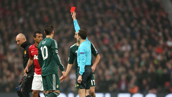 Nani is shown a red card against Real Madrid
