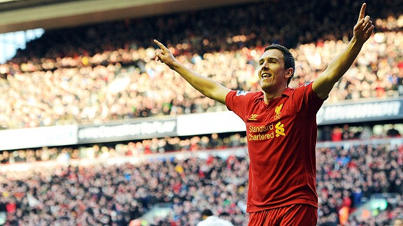Stewart Downing celebrates after levelling for Liverpool against Spurs