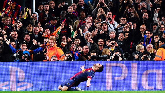 The Camp Nou crowd erupts after David Villa scored Barcelona's third against Milan
