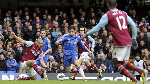 Eden Hazard's goal put Chelsea 2-0 in front against West Ham
