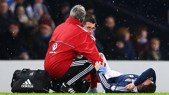 Steven Fletcher is down and in pain during Scotland's World Cup qualifying defeat to Wales