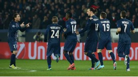 Paris Saint-Germain celebrate after drawing level through Zlatan Ibrahimovic