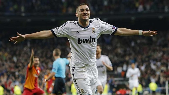 Karim Benzema celebrates putting Real Madrid into a 2-0 lead
