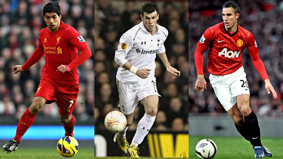 Player of the Year contenders Luis Suarez, Gareth Bale and Robin van Persie