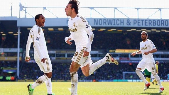 Michu celebrates after scoring for Swansea against Norwich