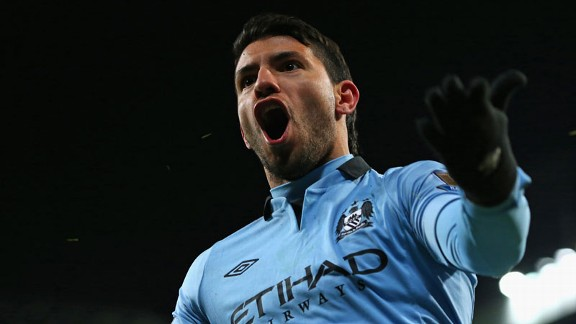 Sergio Aguero celebrates his Manchester derby winner
