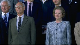 Margaret Thatcher attends the 1988 Scottish Cup final with her husband, Dennis