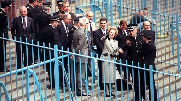Margaret Thatcher inspects the Leppings Lane end of Hillsborough after the disaster in 1989