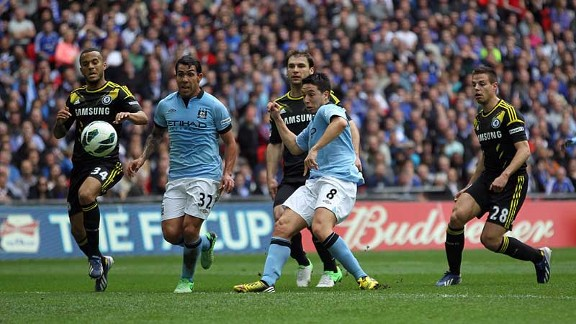 Samir Nasri fires Manchester City into the lead at Wembley
