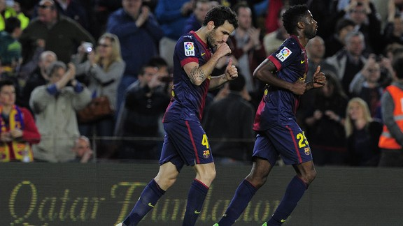 Cesc Fabregas scored late for Barcelona to seal a Primera Division win against Levante