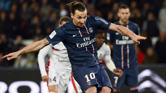 Zlatan Ibrahimovic scores a penalty for PSG during the win against Nice