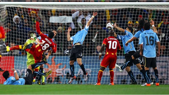 Luis Suarez was sent off for this deliberate handball during Uruguay's World Cup quarterfinal clash with Ghana in 2010. Asamoah Gyan missed the resulting penalty as Suarez celebrated on the sidelines.