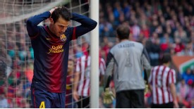 Cesc Fabregas rues a missed chance in Barcelona's 2-2 draw with Athletic Bilbao
