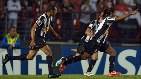 Ronaldinho celebrates after equalising for Atletico Mineiro just before half-time