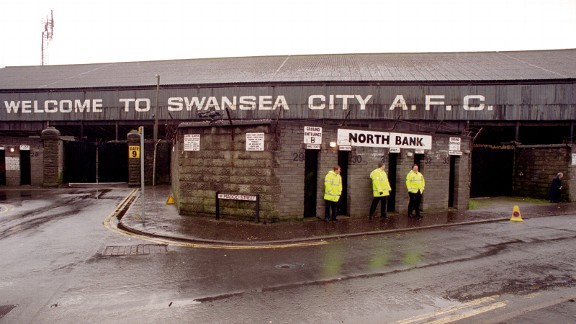 The entrance to the North Bank at Swansea City's Vetch Field Stadium