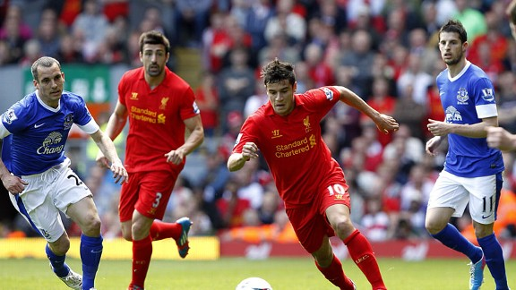 Philippe Coutinho in full flow against Everton