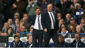 Tottenham's Andre Villas-Boas and Chelsea's Rafa Benitez stalk the touchline at Stamford Bridge