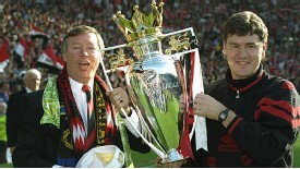 Sir Alex Ferguson and Brian Kidd after winning back-to-back Premier League titles in 1994, also the first time he did the Double