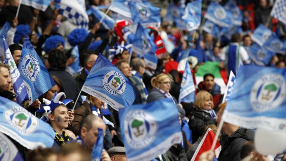 Wigan fans Wembley flags FA Cup final