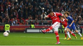 Oscar Cardozo fires home the equaliser from the penalty spot