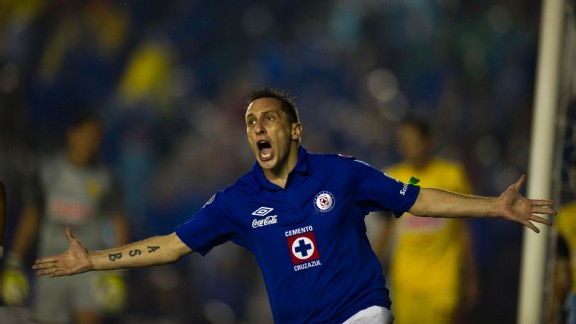 Christian Gimenez celebrates after giving Cruz Azul an early lead over Club America