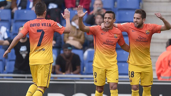 Barcelona celebrate Alexis Sanchez's goal against Espanyol