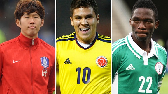 Son Heung-Min, Juan Fernando Quintero and Kenneth Omeruo