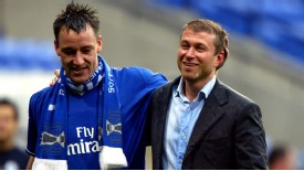 John Terry is congratulated by Abramovich after securing Chelsea's first Premier League title in 50 years
