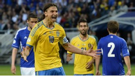 Zlatan Ibrahimovic celebrates after netting from the penalty spot