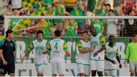 The Tampa Bay Rowdies celebrate a goal during their US Open Cup campaign