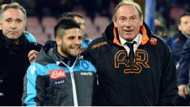 Italy Under-21 forward Lorenzo Insigne smiles with his mentor Zdenek Zeman.