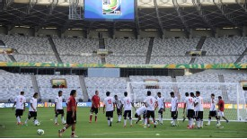 Tahiti players warm up training Brazil Confederations Cup