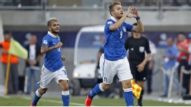 Ciro Immobile celebates his goal in the Under-21 European Championship final
