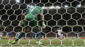 Keisuke Honda scores against Italy in the Confederations Cup.