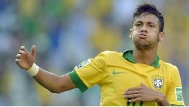 Neymar celebrates his goal for Brazil against Mexico