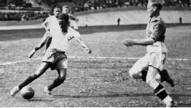 Brazilian forward Leonidas in action at the 1938 World Cup