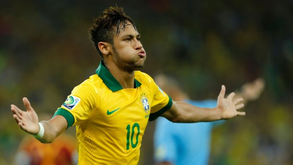 Neymar celebrates after scoring his side's second goal in the Confederations Cup final.