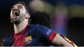 David Villa Barcelona scream shout