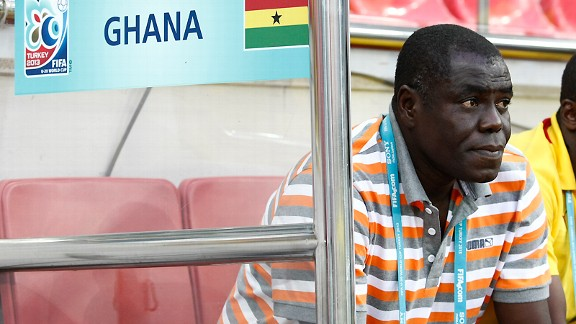 Very superstitious: Ghana coach Sellas Tetteh in his lucky shirt.
