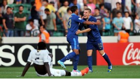 France duo Pierre Yves Polomat and Lucas Digne celebrate beating Ghana in the semi-finals.