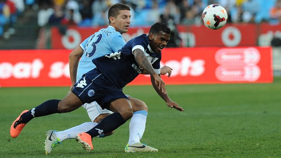 Man City's Matija Nastasic challenges Supersport goalscorer Kermit Erasmus.